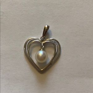 Mikimoto pearl with silver heart pendant